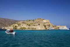 Fortress on the island of Spinalonga. A historic city on the island of lepers. Defensive walls and buildings in Spinalonga Fortess. Holidays in Crete, Greece royalty free stock photos