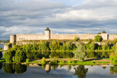 Fortress in Ivangorod, border of Russia Royalty Free Stock Photo