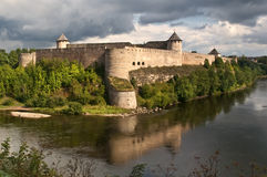 Fortress Ivangorod, Russia. The fortress on the border of Russia and Estonia Stock Image