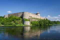 Fortress of Ivangorod, Russia. Ivangorod Fortress is a Russian medieval castle established by Ivan III in 1492 and since then grown into the town of Ivangorod Stock Image