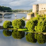 Fortress in Ivangorod, western border of Russia Stock Photos