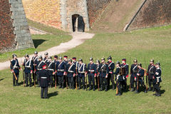 Fortress Josefov, demonstration of a battle in the 19th century Royalty Free Stock Photo