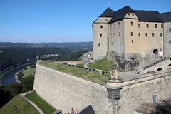 Fortress Königstein. The fortress Königstein near dresden is part of the beautiful national park Sächsische Schweiz in saxony, germany Royalty Free Stock Photo