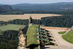 Fortress Königstein. Cannons standing on the fortress Königstein near dresden. This is part of the beautiful national park Sächsische Schweiz in saxony Royalty Free Stock Photos