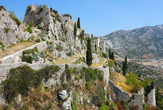 Fortress Klis near Split. View in a bright sunny day of fortress Klis near Split in Croatia Stock Photo