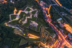 Fortress Klodzko in the evening, aerial view stock image