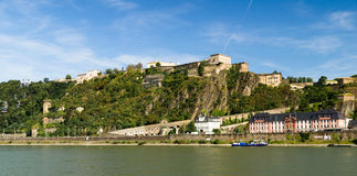The fortress in Koblenz. With the Rhein river in front Stock Photos