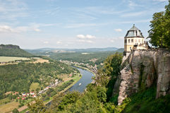 Fortress Koenigstein and river Elbe. Part of the fortress koenigstein - castle wall and pavilion friedrichsburg - in saxony near Dresden with view to the river Stock Photos