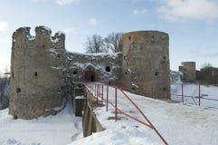 The fortress Koporye in winter evening. Leningrad region Stock Photography