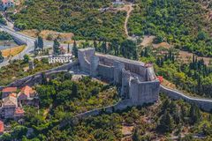 Fortress Koruna in Mali Ston. Medieval town Mali Ston in Dubrovnik area at the one end of the world known Ston walls. Fortress Koruna detail Royalty Free Stock Image