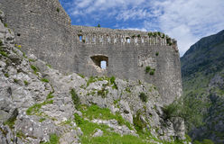 Fortress of Kotor. The city walls and the fortress of Kotor, Montenegro Royalty Free Stock Photo