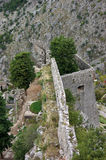 Fortress of Kotor. View a fragment of fortifications of Kotor (Montenegro Stock Photos