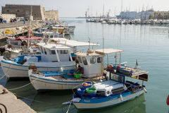 Fortress KOULES in Heraklion. All tourists like to walk around Heraklion, starting at the fishing harbour close to the  modern port, what will strike   first is Royalty Free Stock Photography