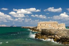 Fortress Koules in Iraklio. Famous Fortress Koules in Iraklio with Sea and Stones Stock Images
