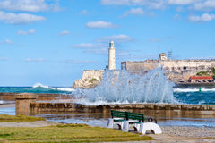 The fortress and lighthouse of El Morro in Havana with sea waves crshing on the seawall Stock Photo