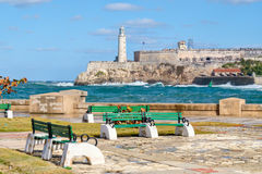 The fortress and lighthouse of El Morro in Havana Royalty Free Stock Photos