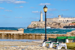 The fortress and lighthouse of El Morro in Havana Royalty Free Stock Images
