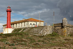 Fortress and lighthouse of Esposende. Fort of São Joao Baptista de Esposende built in the late seventeenth century and lighthouse of Esposende, known for its stock photos