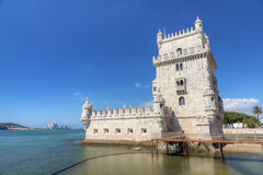 Fortress Lisbon Belem Tower, Portugal. White stone ancient fortress Lisbon Belem Tower, recalls Portugal's great past as a sea-faring nation, Portugal Royalty Free Stock Photography