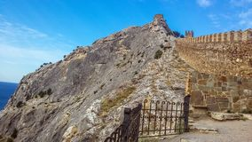 Genoese fortress is a fortress in Sudak Crimea, built by Genoese as a stronghold for their colony in the Northern black sea regi royalty free stock photos
