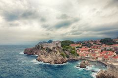 Fortress Lovrijenac in Dubrovnik, Croatia. The famous fortress Lovrijenac in Dubrovnik during a cloudy and mystic day Royalty Free Stock Photography