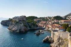 Old fort Lovrijenac in Dubrovnik,. The fortress Lovrijenac is located on a rock in the  northwest of the old town of Dubrovnik, Croatia Royalty Free Stock Photos