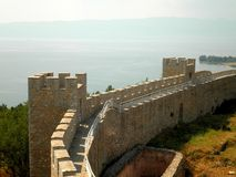 Fortress in Macedonia Lake. The beautiful Ohrid Fortress over lake in Macedonia royalty free stock photography
