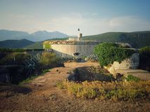 Fortress Mamula. The top of Mamula fortress and Montenegrian hills in the background Stock Image