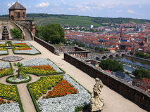 Fortress Marienberg gardens with view to city Wurzburg Stock Image