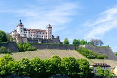 Fortress Marienberg in Würzburg at blue Sky, Bavaria, Germany stock photos