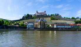 Fortress Marienberg in Würzburg with River Main at blue Sky, Bavaria, Germany royalty free stock photo