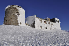 Fortress on Mount Pop Ivan on the Montenegrin ridge. Winter hiking in the Montenegrin ridge 2017 Morning landscape stock photography