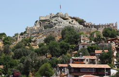 Fortress on the mountain. Ancient fortress on a hilltop in Turkey Royalty Free Stock Photo