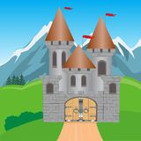 Fortress in mountain. Illustration to medieval fortress in mountain by summer Stock Photo