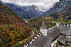 Fortress in mountains Stock Images