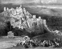 Fortress in the mountains. Illustration for the Emperor Nicholas 1. Paris 1841 Stock Photos