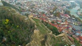 Fortress of Narikala overlooks Tbilisi, Georgia, topview stock video footage