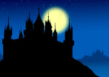 The fortress of the night color bottom. There is star in the blue color the background top that get empty Stock Image