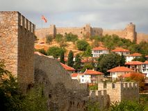 Fortress in Ohrid Macedonia. The beautiful Ohrid Fortress and town in Macedonia royalty free stock image