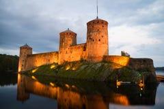 Fortress Olavinlinna in the summer twilight. Savonlinna Royalty Free Stock Photography