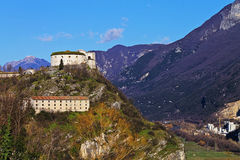 The fortress. The old fortress on mountain,with blue sky Royalty Free Stock Photos