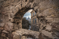 Fortress of the Old Sity Baku, stone frame or defence hole.,Old city wall of Baku Azerbaijan. Spring time Stock Photography