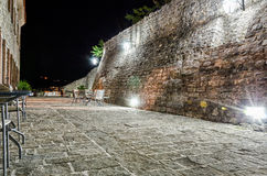 Fortress of old town Budva at night Stock Photography