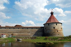 Fortress  Oreshek in Shlisselburg. The fortress is UNESCO World Heritage Sites Royalty Free Stock Image