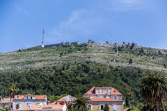 Fortress Over Homes in Dubrovnik Royalty Free Stock Photo