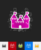 Fortress paper sticker with hand drawn elements Royalty Free Stock Photo