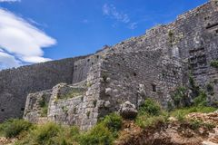Fortress in Perast. Walls of Fort of St Corss in Perast, old coastal town in Kotor Bay, Montenegro Stock Image