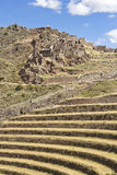 The fortress of Pisac. View of the terraces of fortress ruins built by the Incas on Pisac, peru Royalty Free Stock Photo