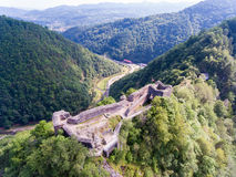 Fortress Poienari, Arefu, Arges county Romania. Old fortress ruins of one of Vlad Tepes - Vlad the Impaler - strongholds in Transylvania Stock Photos