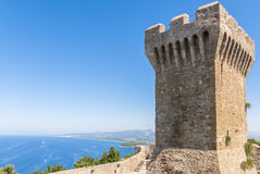 Fortress of Populonia, Tuscany. Keep of Populonia fortress, Etruscan city in Tuscany, Italy. Sitting atop a hill surrounded by the sea in the Gulf of Baratti Royalty Free Stock Image